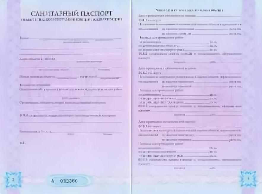 Внутренние страницы санитарного паспорта на объект